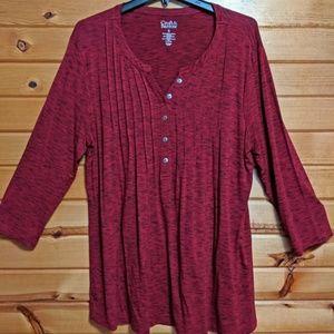 NWOT Croft & Barrow Burgundy Red Tunic 3/4 Sleeves